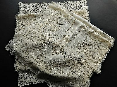 POINT DE VENISE filet FIGURAL Italian  BURANO inserts LACE (2) TABLE RUNNER