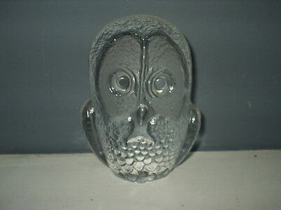 "MATS JONASSON Clear Glass OWL PAPERWEIGHT 4 1/2""  KOSTA BODA - EXCELLENT  SIGNED"
