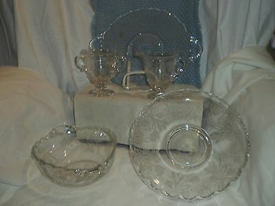 "VINTAGE ETCHED FOSTORIA -5 piece-  ""HEATHER"" CAKE PLATE OVAL BOWL  LILY POND C&S"
