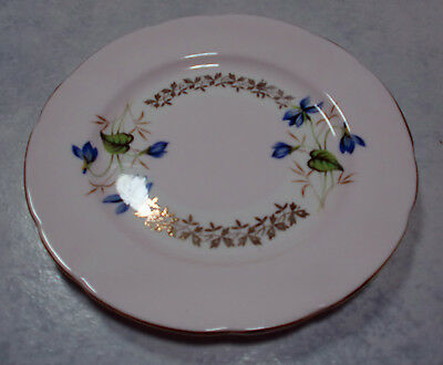 Vintage Dessert Plate PERFECT Pink & White English China Blue Floral & 22ct Gold
