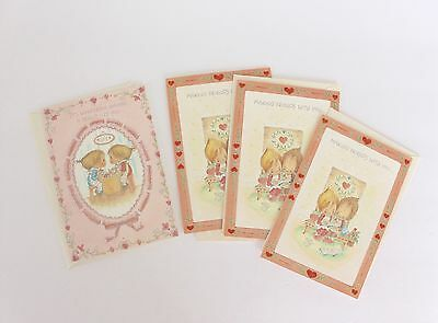 Vintage Betsey Clark Greeting Cards Unused Valentines Day Lot of 4 Friends 1975