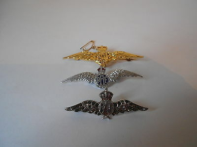 3 Sweetheart RAF Brooches, Chrome x 2(Marcasite & Enamel) 1 Gold tone with chain
