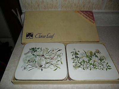 Set 6 Clover leaf Traditional drinks Coasters. White flowers.Bridal Bouquet