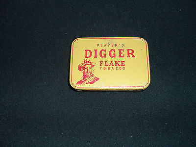 Vintage Tobacco Tin Players Digger Flake -Empty -Yellow Lid