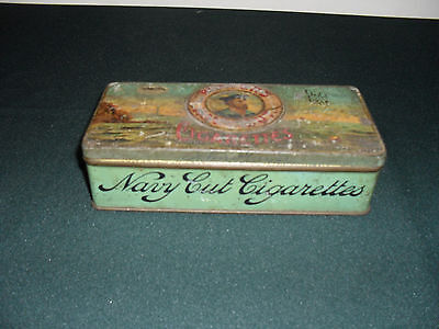 """Vintage Large Cigarette Tin Players Navy Cut 6.5"""" X 3"""" With A Hinged Lid"""