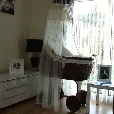 Large MK Wicker baby crib cot on Wheels with drapes and mattress