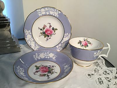 vintage tea set trio, spode maritime rose