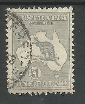 Australia  Sg137 The 1935 Gv £1 Grey Fine Used See Scans  Cat £275