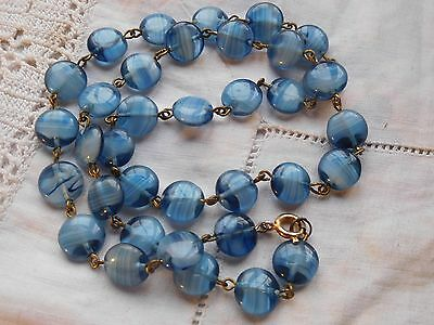 Lovely Vintage 1950s Blue Glass Bead Necklace