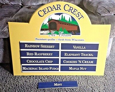 Vintage Cedar Crest Ice Cream Menu Sign With 22 Flavor Sliders From Closed Diner