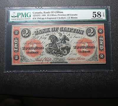 1861 Province Of Canada $2 Bank Of Clifton Note PMG 58 EPQ