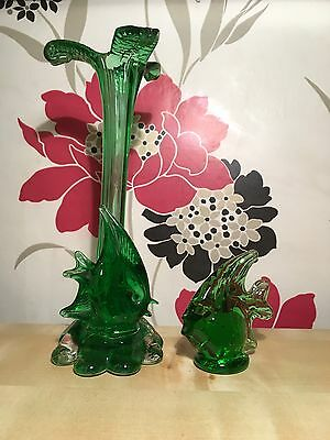 Vintage Green Murano glass vase with applied fish,Plus Matching Fish Paperweight