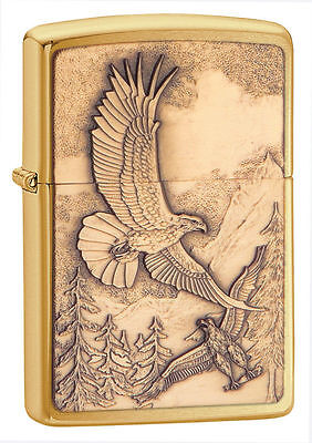 Zippo 20854, Where Eagles Dare, Emblem, Brushed Brass Finish Lighter, Full Size