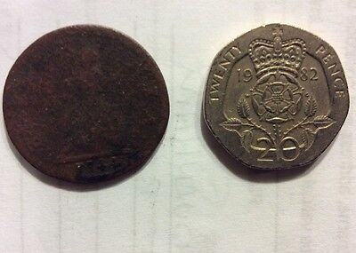 Old Vintage Farthing George II Dated 1744, In Well Worn Condition.