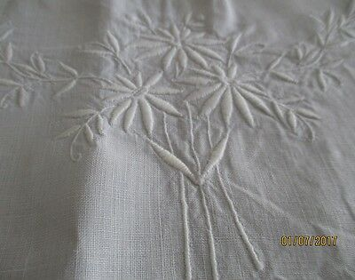 Antique Banquet Tablecloth Madeira Embroidered With Filet Lace