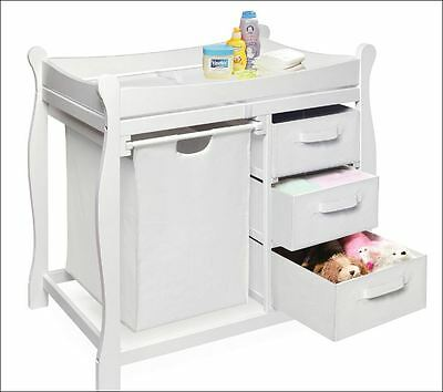 Baby Furniture Changing Table Nursery Station Dresser Hamper Diaper Storage