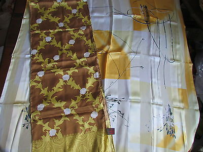 """Silk Scarf Lot  34"""" sq Colorful Abstract Yellow Beige Black  White Danier"""