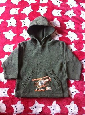 Bhs Baby Khaki Fleece Hooded Jumper 18-24 Months Helicopter Motif