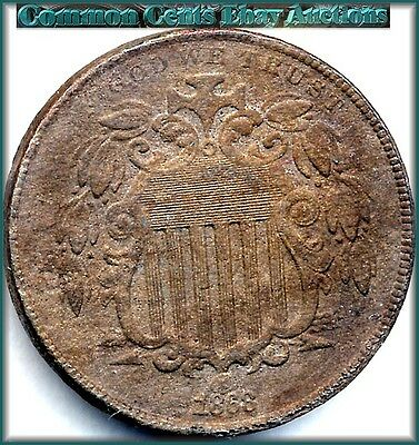 1868 Shield Nickel  Better Date with Extra Fine Details   Opens under Good $9.00