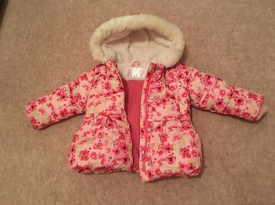 Mothercare Puffer Floral Pink Jacket Girls 12-18month