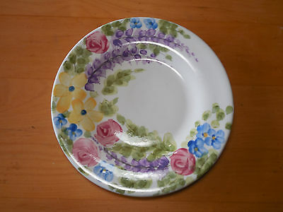 "Tabletops VALENTINO Set of 3 Salad Plates 8 5/8"" Pink Yellow Purple Floral"
