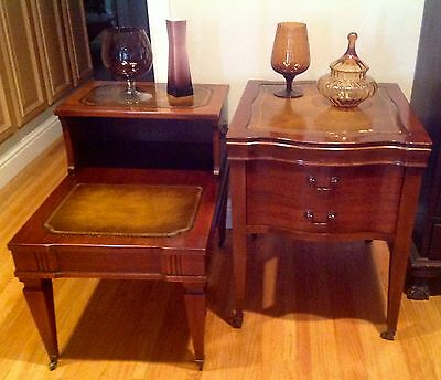 Antique Mahogany End Tables Night Stands Leather top gold stamped