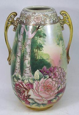 """Monumental 15"""" Hand Painted Moriage Vase Made in Japan"""