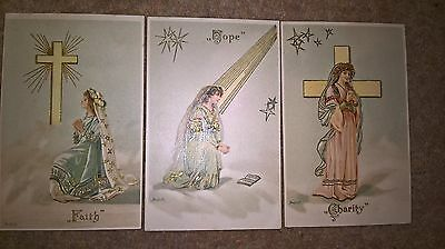 Bundle lot trio of Old antique vintage postcards Faith Hope and Charity
