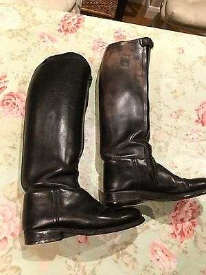 SCHNIDER LONDON BLACK LEATHER RIDING Zipped BOOTS UK 5 EU 38