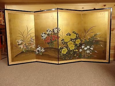 Vintage 1902 Gold Gilt Hand Painted Japanese Four Panel Screen Wall Art Picture