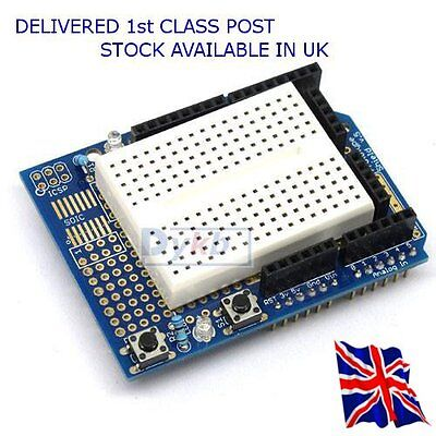 Proto Shield + Breadboard - Can be used with Arduino Uno - Available in UK