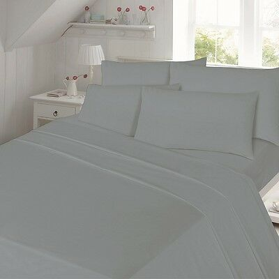100% Thermal Plain Dyed Flannelette Fitted Bed Sheet Brushed Cotton Grey Colors