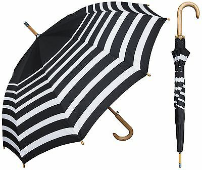 "48"" Black/White Stripe Auto Umbrella - RainStoppers Rain/Sun UV"