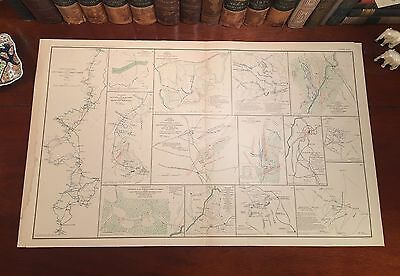 Original Antique Civil War Map Sherman's SIEGE of ATLANTA Georgia GA Marietta