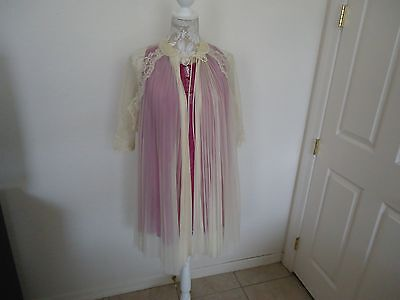 Vtg 1950's RARE VANITY FAIR SHEER PLEATED Peignoir SET Nightgown Negligee M
