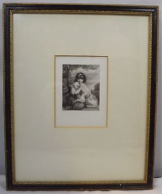 ANTIQUE C19th ENGRAVING - A YOUNG GIRL AND HER DOG BY GREATBACH AFTER J REYNOLDS