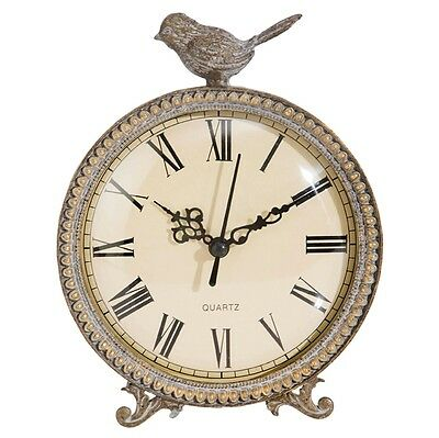 """French Country Shabby Cottage 7"""" Table Desk Clock with Bird Accent"""