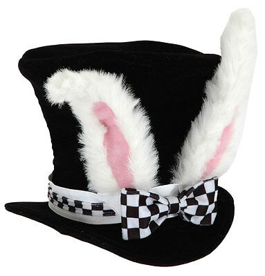 White Rabbit Ears Hatter Top Hat Halloween Costume Party Adult Sized