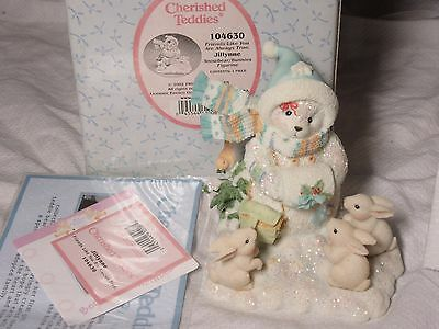 Lot56 - JILLYNNE Cherished Teddies #104630 BOXED Snow Bear & Bunnies