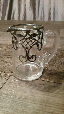 Silver Inlay Glass Creamer Vintage Art Deco Pouring Stunning Decorative Inlay