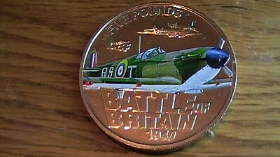 COLOURFUL PLANE - Battle of Britain  2010 - Bailiwick  Jersey  £5 coin #3