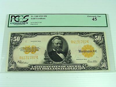 1922 Fr. 1200 $50 GOLD COIN NOTE PCGS EXCELLENT 45 PRISTINE