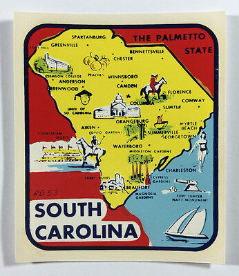 Vintage Unused Travel Decal / Label - South Carolina, The Palmetto State