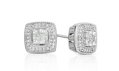 NEW 1/10 CTTW Square Diamond Studs in Rhodium Plated Sterling Silver $149.99