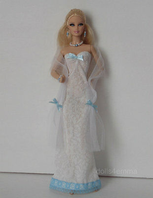 OOAK model muse body Barbie Doll Clothes WRAP + GOWN + JEWELRY Fashion NO DOLL