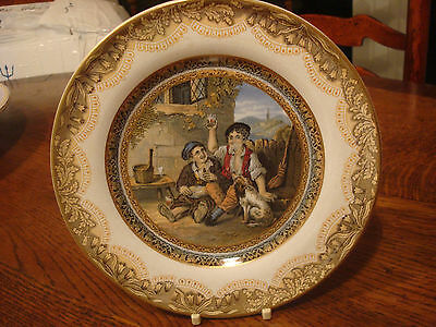 Lovely Prattware side plate two boys drinking good condition