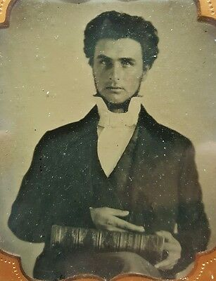 Antique American Religious Man Preacher? Holy Bible Handsome Man Ambrotype Photo