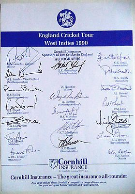 England To West Indies 1990 – Cricket Official Autograph Sheet