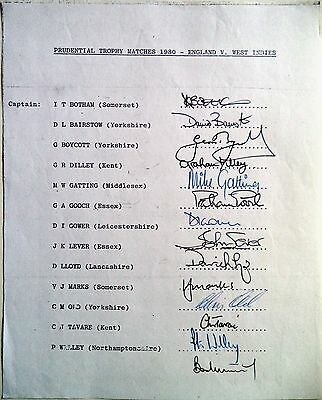 ENGLAND v WEST INDIES 1980 PRUDENTIAL TROPHY – CRICKET OFFICIAL AUTOGRAPH SHEET