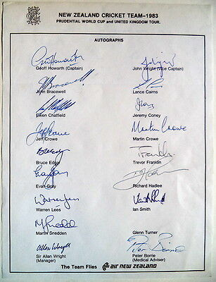 New Zealand To England 1983 Cricket Official Autographs